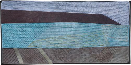 Abstract Contemporary Textile Painting / Art Quilt - Endless Horizon: Cape Palliser Hut Lisa Call