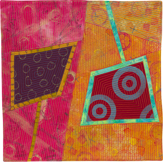 Abstract Contemporary Textile Painting / Art Quilt - Portals #2 ©2013 Lisa Call