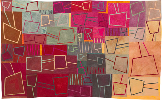 Abstract Contemporary Textile Painting / Art Quilt - Portals #5 ©2012 Lisa Call, Textile Artist, Denver, Colorado
