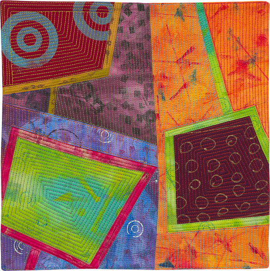 Abstract Contemporary Textile Painting / Art Quilt - Portals #6 ©2013 Lisa Call