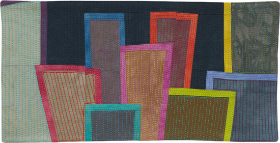 Abstract Contemporary Textile Painting / Art Quilt - Postcards from New York #23 ©2012 Lisa Call