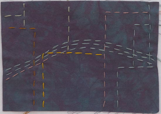 Thread and Needle sketch for Postcards from New York ©2012 Lisa Call, Textile Artist