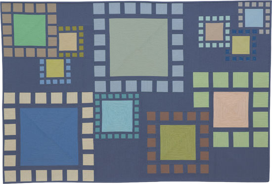 Abstract Contemporary Textile Painting / Art Quilt - Stepping Stones #1 ©2011 Lisa Call, Textile Artist, Denver, Colorado