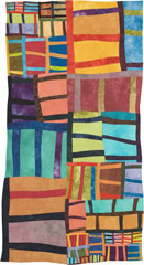 Abstract Contemporary Textile Painting / Art Quilt - Structures #1 ©2005 Lisa Call