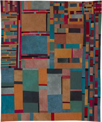 Abstract Contemporary Textile Painting / Art Quilt - Structures #4 ©2001 Lisa Call