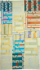 Abstract Contemporary Textile Painting / Art Quilt - Structures #5 ©2002 Lisa Call