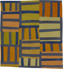 Abstract Contemporary Textile Painting / Art Quilt - Structures #7 ©2001 Lisa Call