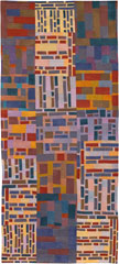 Abstract Contemporary Textile Painting / Art Quilt - Structures #8 ©2002 Lisa Call