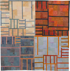 Abstract Contemporary Textile Painting / Art Quilt - Structures #111 ©2010 Lisa Call