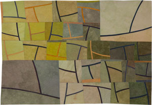 Abstract Contemporary Textile Painting / Art Quilt - Structures #118 ©2011 Lisa Call