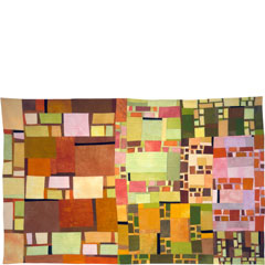 Abstract Contemporary Textile Painting / Art Quilt - Structures #11 ©2002 Lisa Call