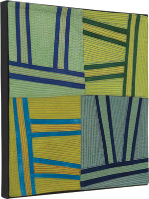 Abstract Contemporary Textile Painting / Art Quilt - Structures #128©2011 Lisa Call - Artist - Denver, Colorado