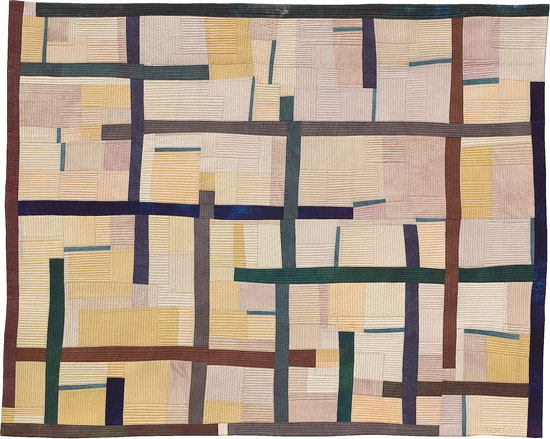 Abstract Contemporary Textile Painting / Art Quilt - Structures #13 ©2005 Lisa Call, Textile Artist, Denver, Colorado