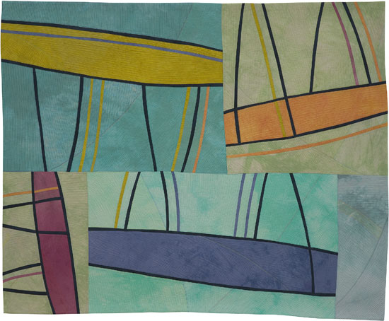 Abstract Contemporary Textile Painting / Art Quilt - Structures #143 ©2012 Lisa Call, Textile Artist, Denver, Colorado