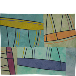 Abstract Contemporary Textile Painting / Art Quilt - Structures #143 ©2011 Lisa Call