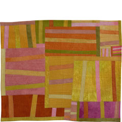 Abstract Contemporary Textile Painting / Art Quilt - Structures #14 ©2003 Lisa Call