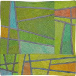 Abstract Contemporary Textile Painting / Art Quilt - Structures #166 ©2014 Lisa Call