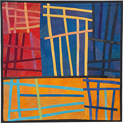 Abstract Contemporary Textile Painting / Art Quilt - Structures #171 ©2016 Lisa Call