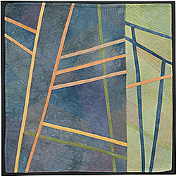 Abstract Contemporary Textile Painting / Art Quilt - Structures #183 ©2016 Lisa Call