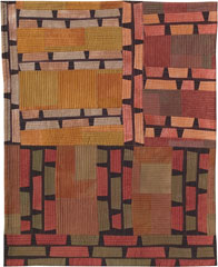 Abstract Contemporary Textile Painting / Art Quilt - Structures #23 ©2003 Lisa Call