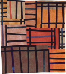 Abstract Contemporary Textile Painting / Art Quilt - Structures #24 ©2003 Lisa Call