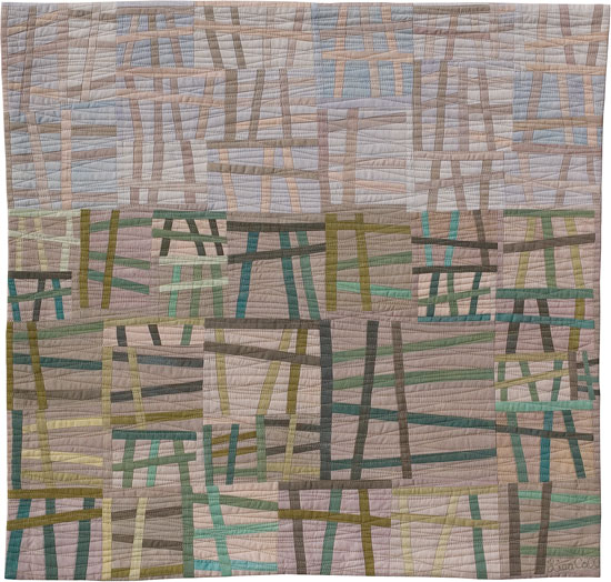 Abstract Contemporary Textile Painting / Art Quilt - Structures #26 ©2004 Lisa Call, Textile Artist, Denver, Colorado