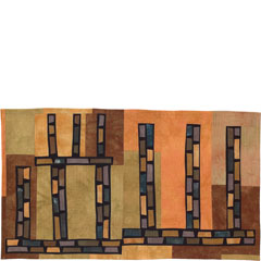 Abstract Contemporary Textile Painting / Art Quilt - Structures #30 ©2004 Lisa Call