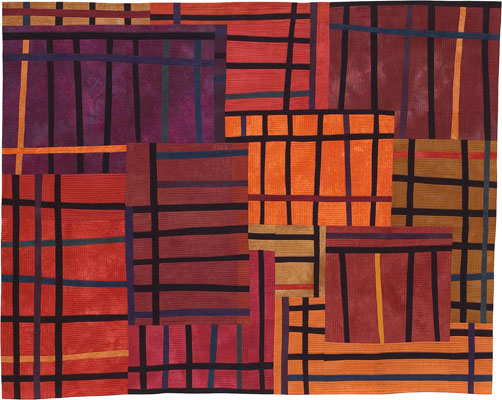 Abstract Contemporary Textile Painting / Art Quilt - Structures #32 ©2005 Lisa Call
