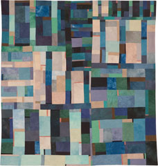 Abstract Contemporary Textile Painting / Art Quilt - Structures #33 ©2006 Lisa Call