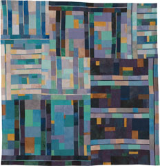 Abstract Contemporary Textile Painting / Art Quilt - Structures #34 ©2006 Lisa Call