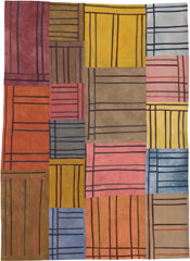 Abstract Contemporary Textile Painting / Art Quilt - Structures #36 ©2005 Lisa Call