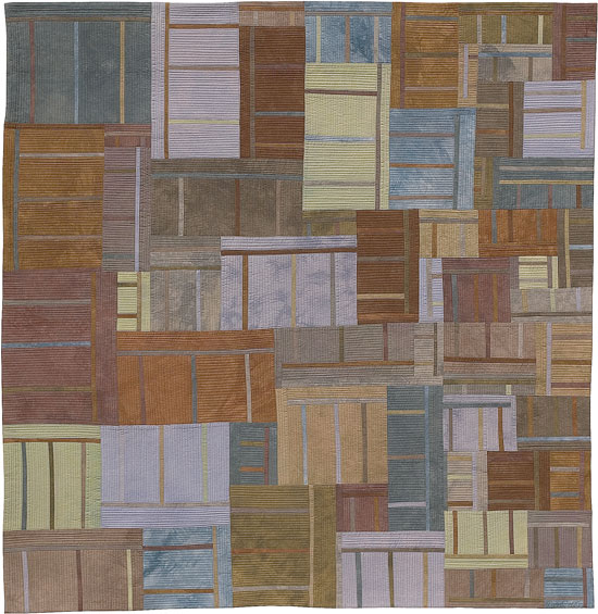 Abstract Contemporary Textile Painting / Art Quilt - Structures #38 ©2005 Lisa Call, Textile Artist, Denver, Colorado