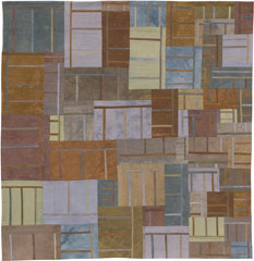 Abstract Contemporary Textile Painting / Art Quilt - Structures #38 ©2005 Lisa Call