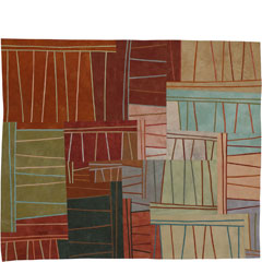 Abstract Contemporary Textile Painting / Art Quilt - Structures #72 ©2009 Lisa Call
