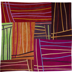 Abstract Contemporary Textile Painting / Art Quilt - Structures #98 ©2008 Lisa Call