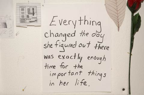 Everything changed the day she realized there was exactly enough time for the important things in her life.