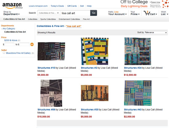 screenshot of Lisa Call's artwork on amazon art