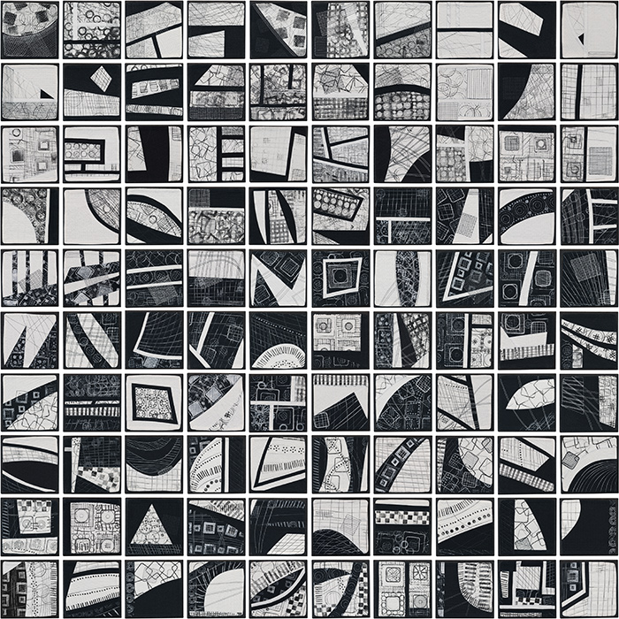 Symphony In Black And White Contemporary Textile Painting Art Quilt Artist Lisa Call